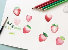 Strawberry study 🍓 . . . . . . . . . . . . . . . #watercolor #watercolour #painting #peinture #instapaint #watercolorart… Watercolor Illustration, Watercolour Painting, Hobbies To Try, Hand Writing, Spring Party, Step By Step Painting, Drawing S, Art Day, Insta Art