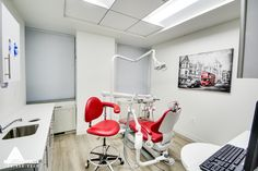 Red Dental Chair. Dental Office Design by Arminco Inc.
