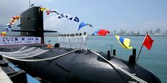 A Chinese Naval submarine docks at the Ngong Shuen Chau Naval Base in Hong Kong.