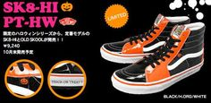 - Vans, the pioneer in skate shoe, are taking part in the Halloween trend by releasing a limited edition sneaker. As time ticks closer to Halloween. Halloween Accessories, Halloween Shoes, Vans Sneakers, High Top Sneakers, Skate Shoes, Trick Or Treat, Fashion, Moda, Fashion Styles
