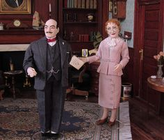 Hercule Poirot and Miss Felicity Lemon. 12th scale OOAK sculptures by Annemarie Kwikkel