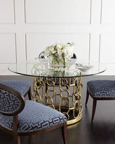 -6NRS Bernhardt  Selinda Glass-Top Dining Table Shadowbox Dining Chair