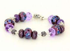 Deep Purple Lampwork Bead Bracelet. Purple and Sterling Silver Glass Bead Bracelet. Spring or Easter Bracelet. Lampwork Jewelry.