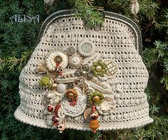 "Vintage bag 4. Alisa vintage look crochet handbag embellished with beauties. No pattern - just Pure Inspiration. I am in absolute awe of her ""handbag art""!"