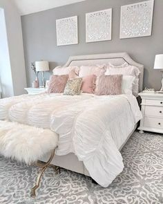 dream of a master bedroom 36 - Home sweet Home - Bedroom Decor Cute Bedroom Ideas, Girl Bedroom Designs, Room Ideas Bedroom, Home Decor Bedroom, Room Decor Bedroom Rose Gold, Grey Bed Room Ideas, Girls Bedroom Furniture, Bedroom Girls, Bedroom Inspiration