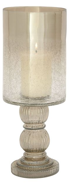 DecMode 16-in. Glass Hurricane Candle Holder with Round Base - 24634