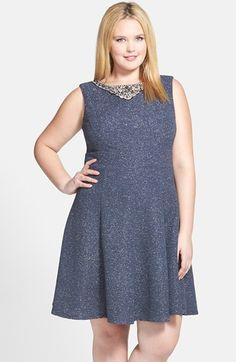 Eliza+J+Embellished+Neck+Fit+&+Flare+Dress+(Plus+Size)+available+at+#Nordstrom