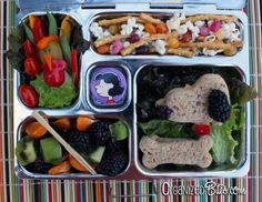 """One day I might be this creative.  OrganizedBites.com   """"Charlie Brown's Thanksgiving Lunch"""" Vegetarian, eco-friendly, dye-free bento lunch box ideas in a PlanetBox for kids."""
