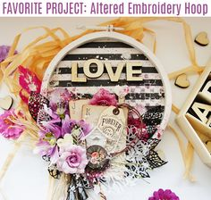 """""""I made an altered embroidery hoop for you all! I also made a video tutorial to show you how to make your own! Enjoy!"""" ~ Jaya Raghuvanshi"""