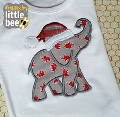 elephant silhouette for Alabama or football fans! Christmas Santa hat 4x4 5x7 6x10 hoop embroidery applique design Instant Download! *103116 by designsbylittlebee on Etsy https://www.etsy.com/listing/488843663/elephant-silhouette-for-alabama-or