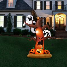 8' Tall Airblown Halloween Inflatable Dead Tree with Ghost on Top/Pumpkins on Bottom, $49