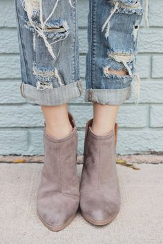 502d383d0d2 Taupe Cut Out Wooden Heel Pointed Toe Booties Wilson-02