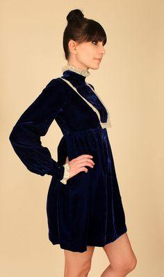 VtG 60s VELVET Deep Blue Babydoll Empire Waist MoD Lace MiNI Dress Dolly xs s