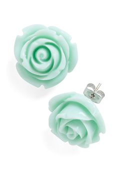 Retro Rosie Earrings - Green, Pink, Flower, Wedding, Party, Work, Casual, Vintage Inspired, Summer, Pastel, Best Seller, Daytime Party, Mint, Coral, Top Rated