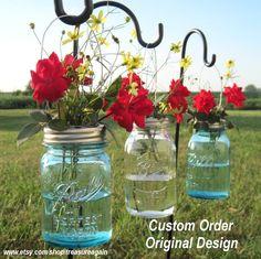 Image detail for -Hanging Mason Jar Flower Frog Lids CUSTOM Order, ORIGINAL Design