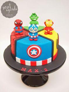 SUPERHERO CAKE OVERLOAD! Superhero fondant cake by Sweet Agenda Cakes                                                                                                                                                      More