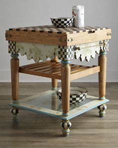 H746X MacKenzie-Childs Pressed Flower Butcher Block Table