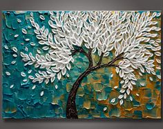 "Grandes 24 ""x 36""x1.5""Original abstracto flor árbol pintura espátula empaste textura Galería estirada lienzo listo para colgar - libre S & H"