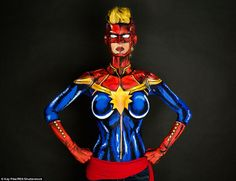 Kay has always enjoyed cosplaying but her body paints take her passion to the next level. Here Kay poses as Marvel comic character Carol Danvers