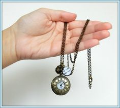 """Alice in Wonderland pocket watch necklace, Antique bronze pocket watch necklace, Alice in Wonderland """"We're all mad here"""" watch necklace"""