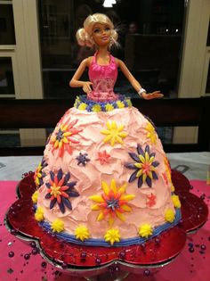 DIY Barbie cake! My aunt and I spent all day making this cake for my little girl's birthday party. She LOVED it!