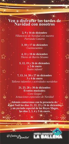 ¡¡¡NAVIDAD EN EL CENTRO COMERCIAL LA BALLENA!!!! :D     Ven a disfrutar las tardes de Navidad con nosotros... ;)     A partir de las 18:00 hrs.