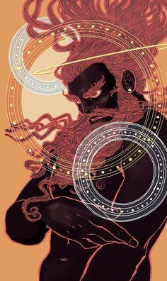 """Uranus - The Sky King"" by Trung Nguyen — Light Grey Art Lab Shop Greek Mythology Gods, Greek Gods And Goddesses, Roman Mythology, Greek Mythology Tattoos, Roman Gods, Bild Tattoos, Grey Art, Art Plastique, Character Art"