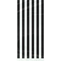 Surprise guests with sweet treats in a stylish package. Black Stripe Cello Gift Bags are designed with bold translucent white and black stripes travelling vertically down the bag and are perfect for holding sweet treats or fun favors. These striking favor bags also come with metallic silver twist ties to keep your guests� goodies from falling out. Place on a �door prize� table or place at each table setting at your next birthday party, bridal shower, or anniversary for the ultimate way of…