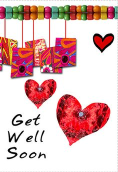 """""""Get well hearts"""" printable card. Customize, add text and photos. print for free!"""
