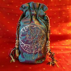 Magickal fairy blessing moon silk bag for very special storage for your favorite treasures. Fairy, Blessing Moon, Silk Tarot Pouch, Teal, Purple, Crescent Moon, Embroidery, Rhinestones, Wiccan Gifts, Silk Lined, Handmade Bag, magick by FreeSpiritSewing on Etsy