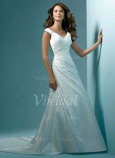 Bröllopsklänningar - $160.31 - A-linjeformat Off-shoulder Ringning Chapel släp Satäng Bröllopsklänning med Rufsar (00205001501)