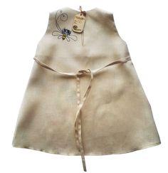 Vintage Girl Dress-Gray linen girls by InGAartWork on Etsy