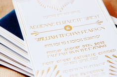 Oh So Beautiful Paper: Adrienne + Will's Glamorous Gold Foil Art Deco Wedding Invitations