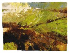 'Spring Landscape, Cerne Abbas' Mixed Media on Paper 60 x 81 cm. Can't find the artist...possibly David Tress..anybody know?