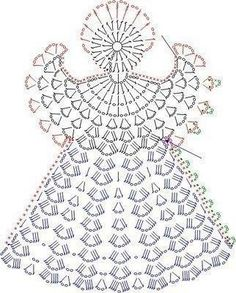 Tricô e Crochê - Knitting and Crochet: Enfeite de Natal em Crochet - Anjo Natalino Filet Crochet, Crochet Diagram, Crochet Chart, Thread Crochet, Crochet Motif, Crochet Flowers, Knit Crochet, Crochet Doilies, Crochet Fabric