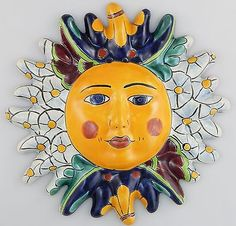 Mexican Talavera Ceramic Sun Face Wall Decor Hanging Pottery Folk Art # 01
