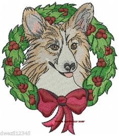 It's never too early to shop ahead for Christmas!  CHRISTMAS PEMBROKE CORGI DOG - 2 EMBROIDERED HAND TOWELS by Susan