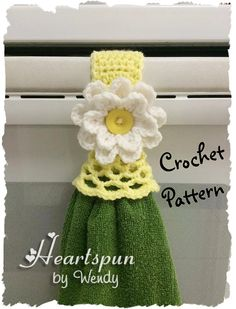 CROCHET PATTERN for Kitchen or Bath Towel Topper Ring with decorative skirt and flower, for hand or dish towels. Attach to oven door, drawer Crochet Towel Holders, Crochet Towel Topper, Crochet Kitchen, Crochet Home, Half Double Crochet, Single Crochet, Sewing Patterns, Crochet Patterns, Hanging Towels