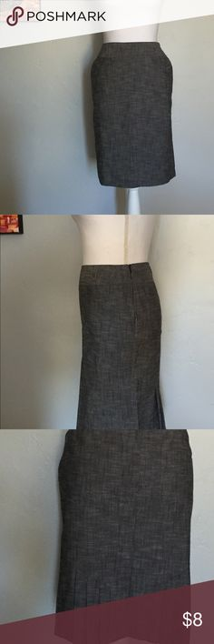 Grey Pencil Skirt With Backside Pleating Grey lightweight pencil skirt with pockets. Unique pleats in the back bottom edge. Excellent condition Speak 2 Me Skirts Pencil