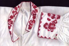 FolkCostume&Embroidery: Costume and 'Rosemaling' Embroidery of West Telemark, Norway Fashion Art, Fashion Beauty, Sewing Art, Red Flowers, Floral Embroidery, Floral Tie, Norway, Machine Embroidery, Red And White