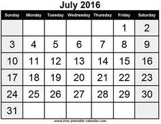 Blank July 2016 Calendar