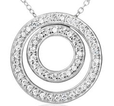 Sterling Silver and Cubic Zirconia Double Circle Pendant Joolwe. $32.99. Save 60% Off!
