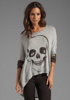 LAUREN MOSHI Deb Skull Face Contrast Cuff Asymmetrical Sweater in Heather Grey/Camo - Lauren Moshi