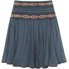 Isabel Marant, Étoile Breeda Embroidered Cotton Skirt (€345) via Polyvore featuring skirts, blue, blue cotton skirt, cotton knee length skirt, embroidered skirt, cotton skirts y blue skirts