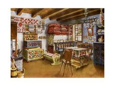 Giclee Print: Austro-Hungarian Peasant Furniture, by Edwin Foley : Hand Painted Furniture, Antique Furniture, Furniture Decor, Mexican Design, Foyers, Scandinavian Folk Art, Austro Hungarian, Cottage Interiors, House Painting