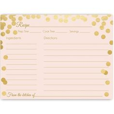 Have guests offer their favorite recipes at your bridal shower or brunch with this modern and glam recipe card featuring metallic gold confetti and lettering on a blush pink background. Card measures