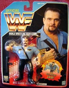 WWF Big Boss Man Wrestling Action Figure by Hasbro. I can remember living upstairs at my Grandparents house and getting this for Christmas. Retro Toys, Vintage Toys, Childhood Toys, Childhood Memories, Wwf Toys, Big Boss Man, Wwf Hasbro, Wrestling Stars, Wwe Elite