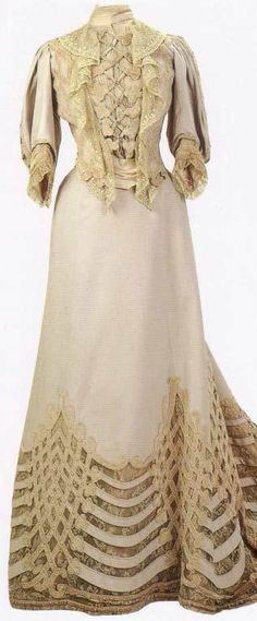 Dress of Tsarina Alexandra Romanova - 1890's-1910's - Alexandra Feodorovna Romanova (1872-1918) - She was Empress consort of Russia as spouse of Nicholas II, the last Emperor of the Russian Empire