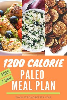 A simple, free 1200 Calorie Paleo Meal Plan optimized for rapid weight loss! A simple, free 1200 Calorie Paleo Meal Plan optimized for rapid weight loss! If you're a paleo be Paleo Meal Prep, Diet Meal Plans, Paleo Plan, Paleo Food, Paleo Dinner, 1200 Calories, Paleo Frozen Meals, Macro Meal Plan, 1200 Calorie Meal Plan