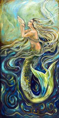 Shop for mermaid art from the world's greatest living artists. All mermaid artwork ships within 48 hours and includes a money-back guarantee. Choose your favorite mermaid designs and purchase them as wall art, home decor, phone cases, tote bags, and more! Fantasy Creatures, Mythical Creatures, Sea Creatures, Mermaid Artwork, Mermaid Drawings, Mermaid Paintings, Mermaid Fairy, Mermaid Tale, Fantasy Mermaids